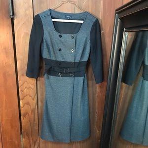 Tahari Tweed Double Breasted Herringbone Dress